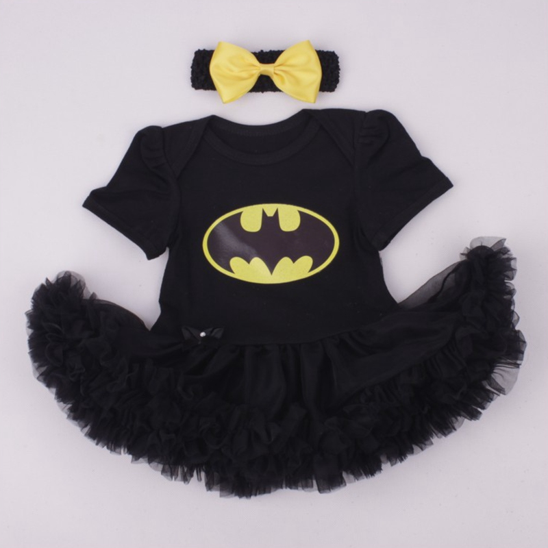 Cute Batman Black Lace Tutu Baby Girl Dress with Headband Kids Party ...