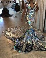 Роскошный платья со шлейфом Серебро русалка платье для выпускного вечера для черных девочек 2019 со сверкающими блестками v образный вырез аф