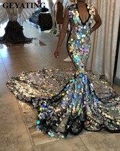 Vestido de graduación de sirena de plata de tren largo de lujo para niñas negras, lentejuela brillante con cuello en V, vestidos de noche formales africanos de talla grande, 2020