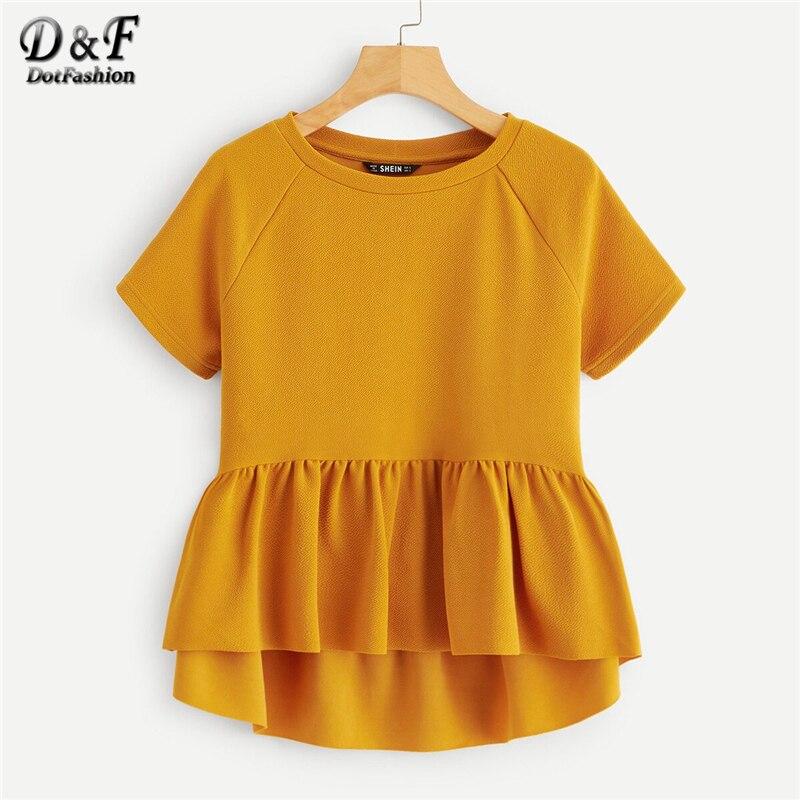 Dotfashion Ginger Summer Blouse Women Dip Hem Raglan Sleeve Peplum Top Short Sleeve Blouses Woman 2019 Solid Cute Ladies Tops