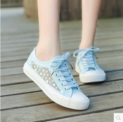 2015 fashion teenage girls hollow mesh splicing canvas
