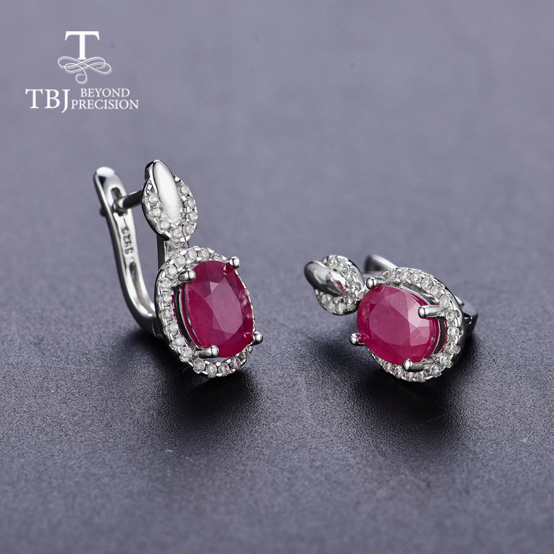 TBJ,Classic design africa ruby clasp earring natural precious gemstone 925 sterling silver jewelry for women lady nice gift