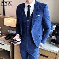 Корейский деловые костюмы для мужчин Мода 3 шт. бизнес человек офисные Slim Fit Блейзер комплект плюс размеры 5XL жених жилет Свадебный Dess костюм