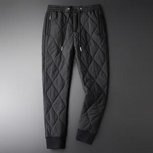 Image 2 - Minglu Inverno Pantaloni da Uomo di Lusso Aggiungere Imbottitura Spesso Tenere in Caldo Pantaloni Degli Uomini Più Il Formato 4xl Moda Elastico in Vita Degli Uomini di Autunno di Pantaloni