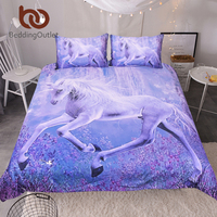 BeddingOutlet Purple Unicorn Bedding Set 3D Printed Quilt Cover With Pillowcases Floral Scenic Bed Set 3
