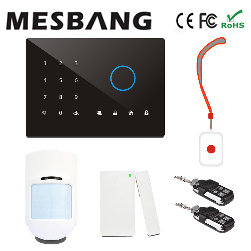 mesbang security wireless gsm alarm system  with English, Russian, Spanish, German, French  free shipping dual network russian spanish french wireless gsm pstn alarm system home security alarm systems with lcd keyboard without battery