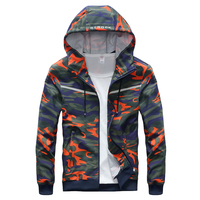 Good Quality Spring Autumn Casual Men's Jacket Red Camouflage Hoodies Reflective Clothing Windbreaker Hooded Coat 6XL 7XL 8XL