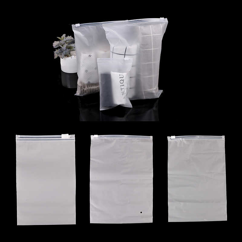 10pcs Frosted Transparent Clothing Storage Packaging Zipper Plastic Pouch Matte Reusable Zip Lock Package Dress Self Stocks Bags