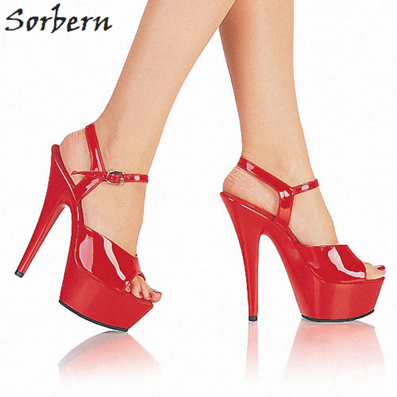 Sorbern Slingbacks Women Heels Stiletto 15Cm/5Cm Women Sandles 2018 Black Heels Women Sandlas Custom Colors Shoes Ladies