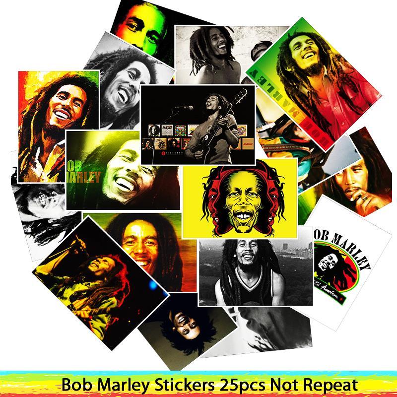 25Pcs/Lot  Waterproof Singer Bob Marley PVC Stickers For Laptop Motorcycle Skateboard Luggage Decal Toy Sticker25Pcs/Lot  Waterproof Singer Bob Marley PVC Stickers For Laptop Motorcycle Skateboard Luggage Decal Toy Sticker