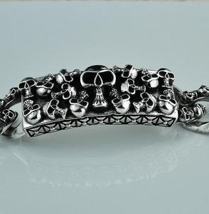 Image 2 - Стерлинговое Серебро 925 пробы, винтажный резной браслет с черепом и цепочкой, S925
