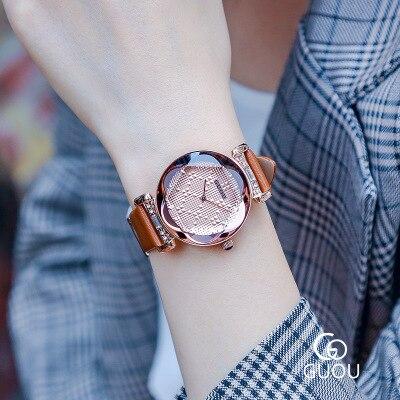 все цены на 2018 GUOU Fashion Rose Gold Ladies Watch Women Leather Wrist Watches Diamond Luxury Clock Saat Relogio Feminino bayan kol saati