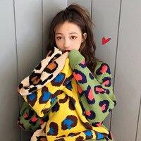 Fashion Leopard Sweaters Women 2019 Korean Autumn Winter Loose Print Pullover Sweater Female Oversize Jumpers O neck Knitwear