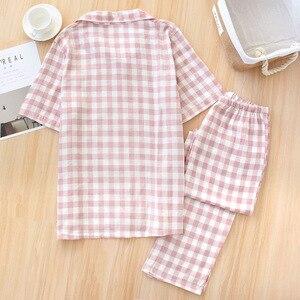 Image 5 - Пижамный комплект для мужчин и женщин, новинка весны, сетчатая хлопковая клетчатая одежда для сна для любимых, простой стиль, короткий рукав + брюки, комплект из 2 предметов, домашняя одежда