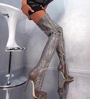 Сексуальная Python Змеиной Сапоги Botas Острым Носом Бедра Высокие Сапоги Тонкие Высокие Каблуки Женщин Мотоцикла Сапоги Осенние Туфли Женщина
