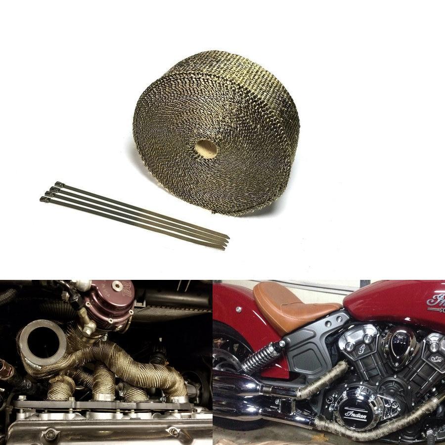5 Ties Motorcycle Titanium Exhaust Header Heat Pipe Wrap Tape Turbo 10m x 50mm