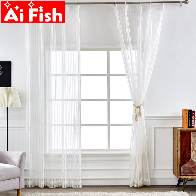 Modern Sheer Organza Curtains Fabric For Kitchen Drapes White Stripe Tulle Sheer Window Curtains For Living Room Wp307#40