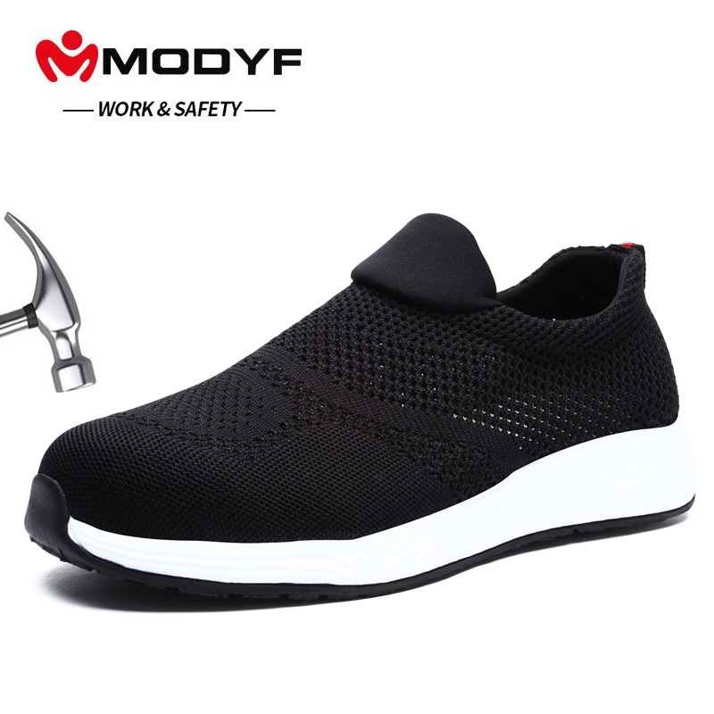 MODYF Men s Work Safety Shoes Steel Toe Cap Fashion Breathable Sports Shoes Summer Lightweight Men
