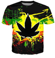 HipHop Men Fashion 3D T-shirts Harajuku Dark Psychedelic WEED LEAF Casual Street T Shirts For Man Free Shipping Male Tshirts