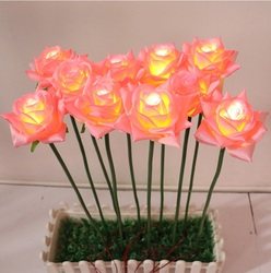 LED Faux Flower / Plastic Rose Stalks / Lighted Aritficial Flowers / Backyard Oasis Patio Lighting / Stick Ground Blend Others