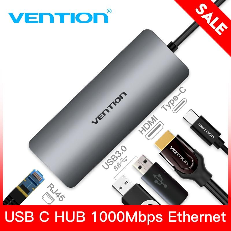 Vention Thunderbolt 3 Adapter USB Type C to USB 3.0 HUB HDMI RJ45 PD Converter for MacBook samsung S9 huawei p20 pro USB-C HUB freegene usb 3 0 hub usb c hub to hdmi rj45 pd adapter for macbook pro samsung galaxy s9 s8 huawei p20 pro type c hub space gray
