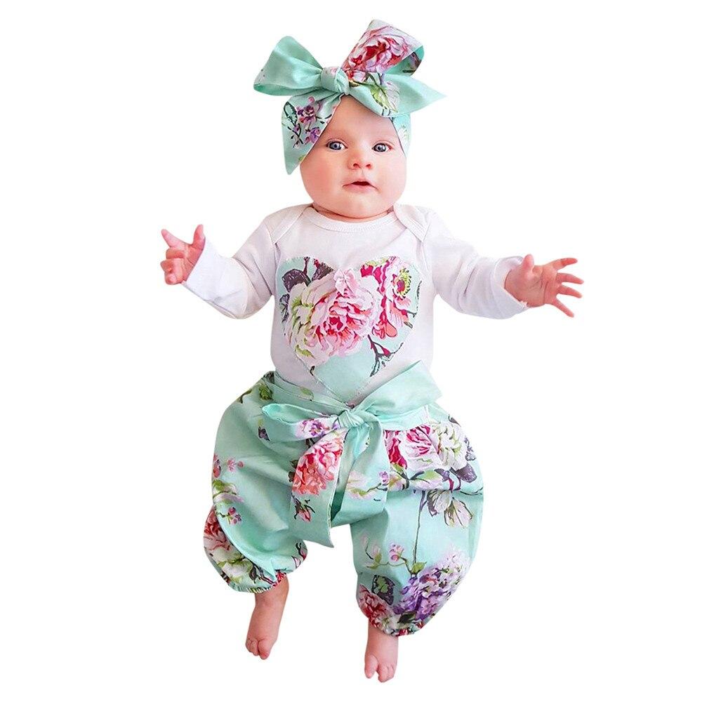 3pcs Toddler Infant Baby Girls clothes Floral Clothes Set Tops+Pants+Headband Outfits Roupas Infantis Menina drop ship