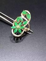 Природный зеленый изумруд кольцо природных драгоценных камней указательном 925 серебро модные элегантные длинные ветви женщин партии ювели