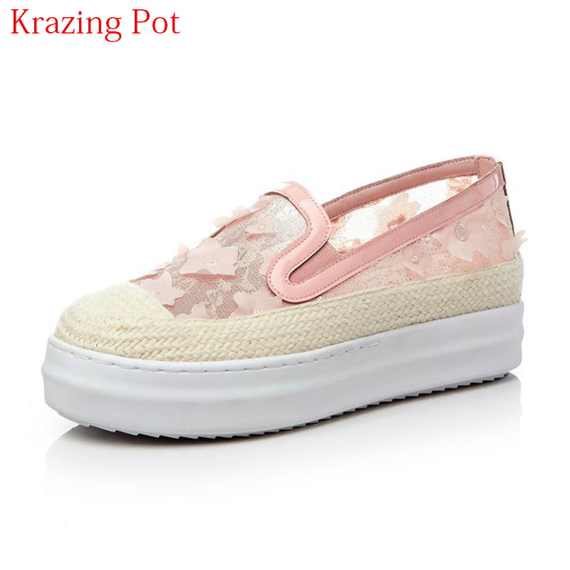2018 New Fashion Cow Leather Air Mesh Round Toe Summer Sneaker Embroidery Thick Bottom Loafer Flowers Women Vulcanized Shoes L01