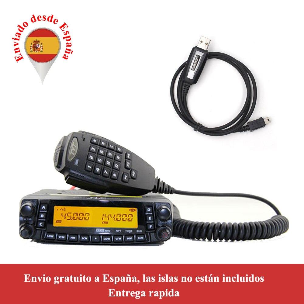 Rádio automotivo do caminhão do carro da faixa v/uhf do quadrilátero do repetidor da estação de rádio 50w do transceptor móvel de tyt th9800 TH-9800 com cabo