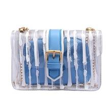 Fashion New Clear Womens Bag Korean version Style Small Plastic Shoulder Square PVC Messenger Transparent Handbag