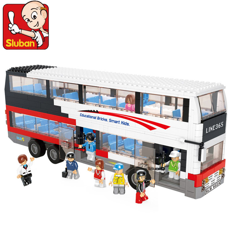 Sluban 0335 Decker Bus School Bus Blocks 741 Pieces Abs Plastic Building Block Sets Toys For Children Kids Diy Bricks Toys kids magnetic building blocks toys for children assemblage plastic abs irregular shape block gifts for the new year