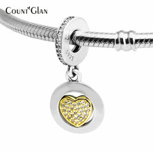 2017 Spring Famous Brand Signature Heart Sterling Silver Charms 925 Silver With CZ & Yellow Light Gold Pendant Heart Charm