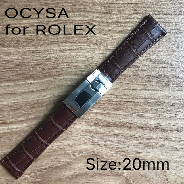 2701413d2dd 20mm leather Black blue green rubber brand ocysa belt watch band strap fit  Rolex watches band bracelet