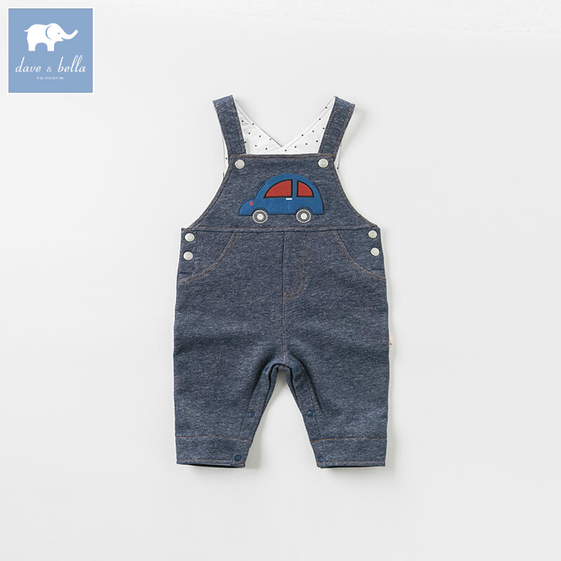 купить DBW8199 dave bella baby autumn overall boys fashion denim soft overalls children cute print jumpsuit по цене 2490.07 рублей