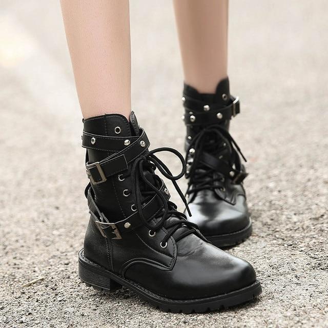 2018 Fashion Women Genuine Leather Martin Boots Autumn Winter Boots
