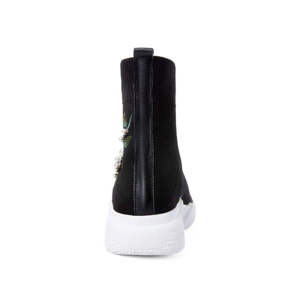 3 Confortable 4 Hiver Lining Chaussures Bottes De Tissu Tricoté 1 Lining Plush Short Respirant Chaussons Automne Lining 2 Mode 4 1 2 Supérieure Qualité Femmes Plates Lining Stretch 3 vUvwq