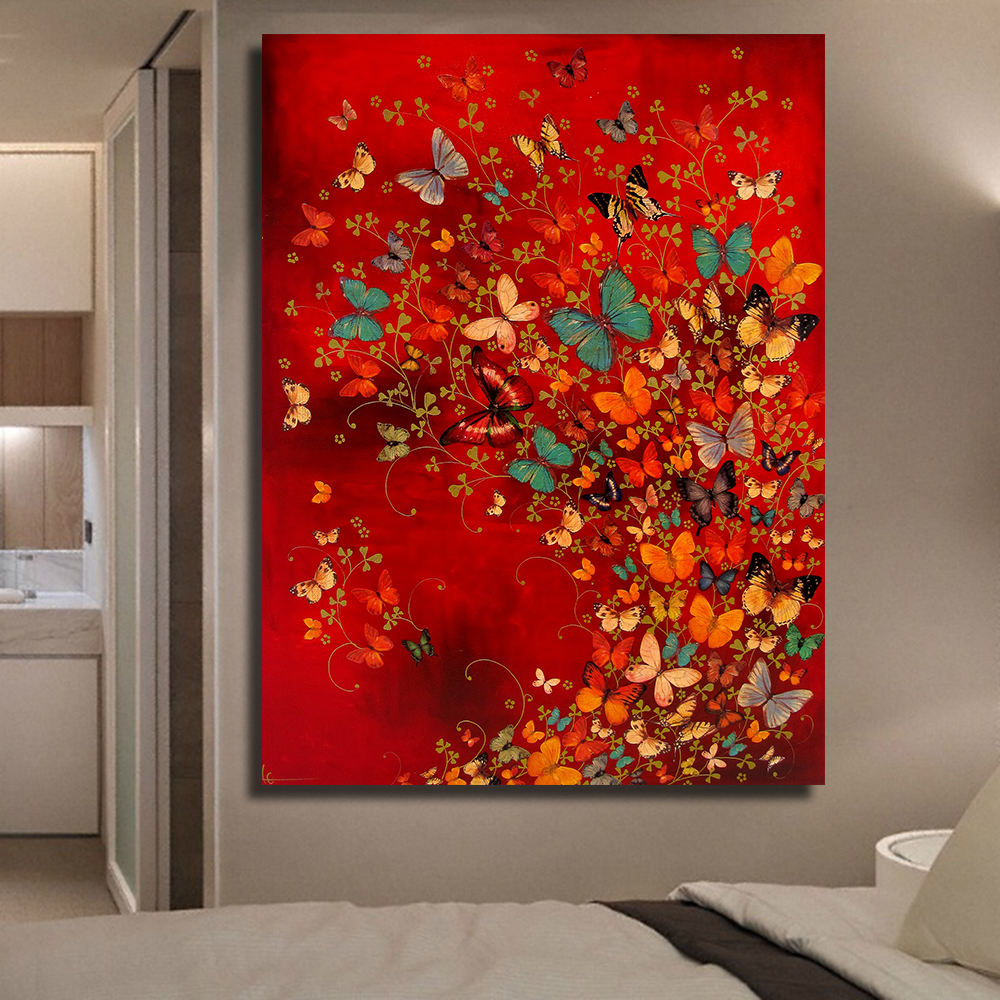 QKART Frameless Wall Art Canvas Painting Common Butterfly Oil Oil Painting on Canvas Նկարների պատերը Ննջասենյակի համար