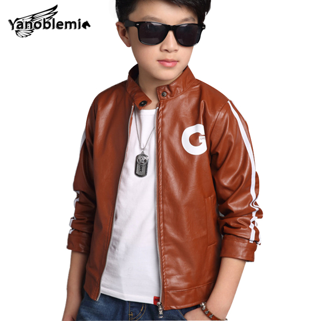 24a85d0d7 Kids Leather Jacket Boys PU Leather Letter Outerwear Baby Boy ...