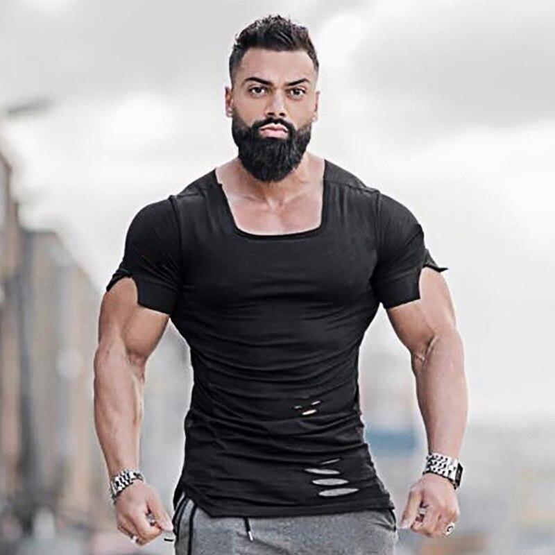Muscleguys Fitness Clothing 2019 Summer   T     Shirt   Men Ripped Hole   T  -  shirts   Mens Slim Fit Tees Men's Hip Hop Extend Gyms Tshirt