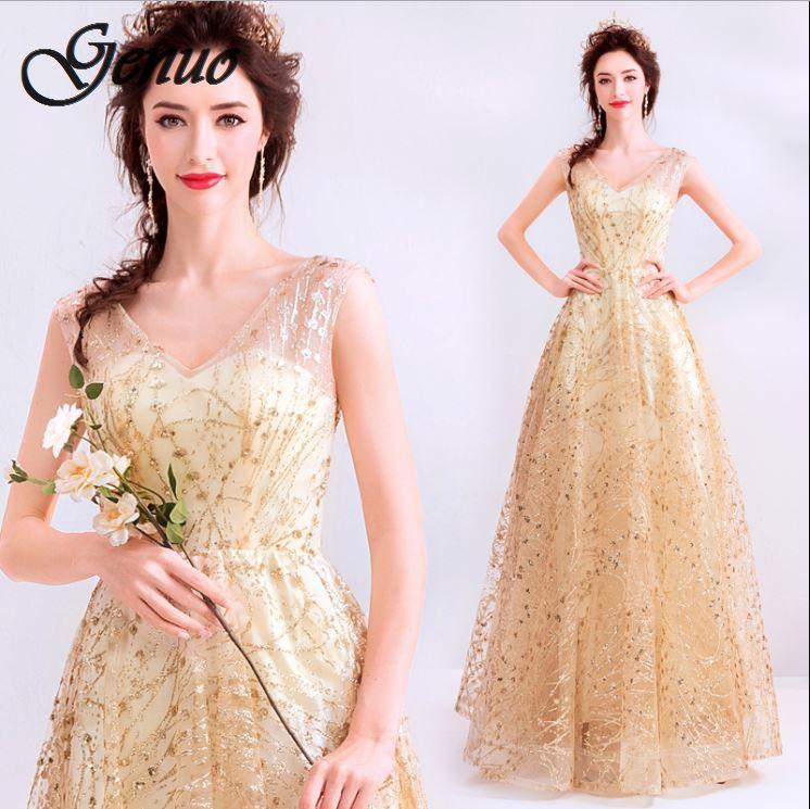 Genuo Women Elegant Fashion Office Lady Work Wear Stylish Party Dress Two Tone Metallic Button Midi