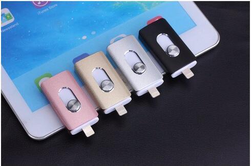 Unidade de armazenamento de 3 em 1 otg micro mais novo usb flash drive para iphone 7/7 plus/6/6 s plus/5S/5/5c/pad armazenamento externo pen drive 16-128g