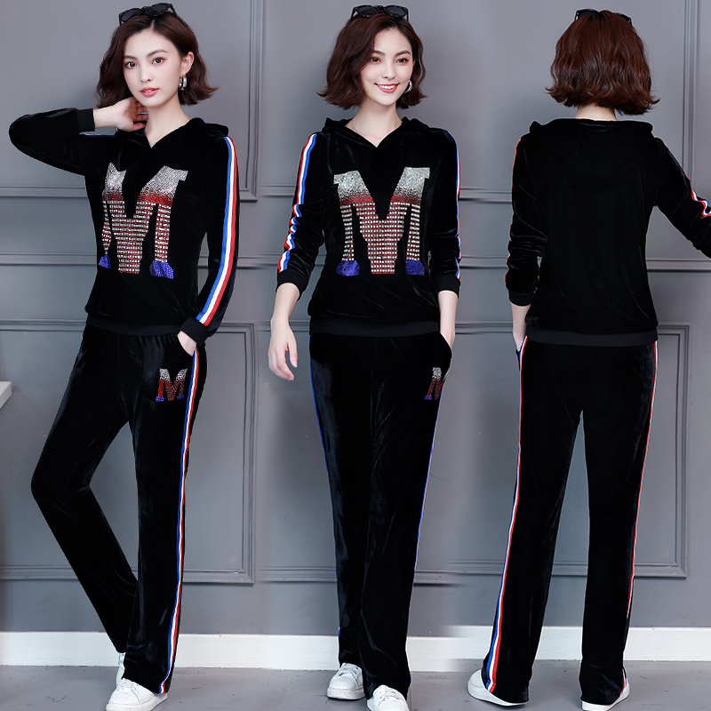 M-5xl 2019 Autumn Velvet Rhinestones Two Piece Sport Sets Tracksuits Women Plus Size Hooded Tops And Pants Casual Outfits Suits 34