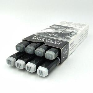 Image 2 - Finecolour EF102 Мягкие кисти, профессиональные скетч, двухсторонние чернила на спиртовой основе, серые серии 8 цветов, художественные маркеры