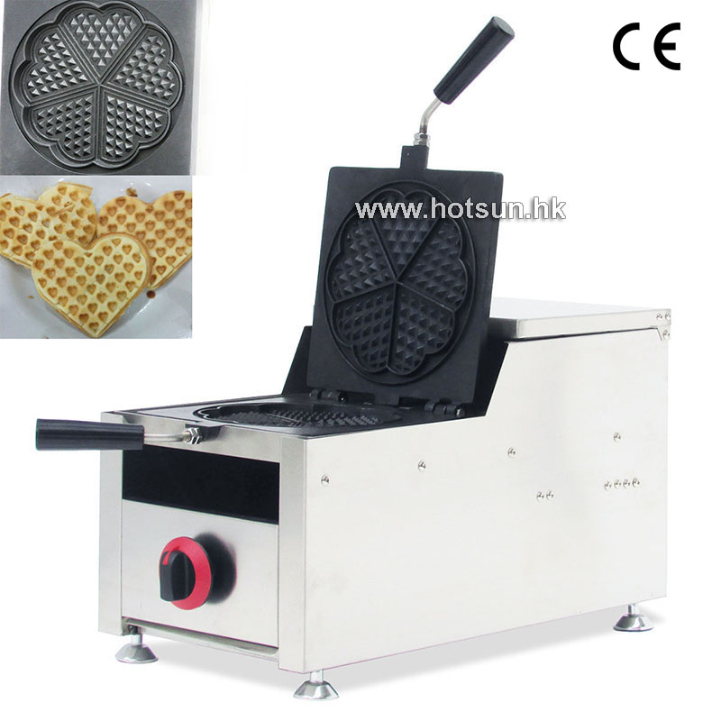 Commercial Non-stick LPG Gas Rotated 4-slice Heart-shaped Waffle Iron Maker Baker Machine commercial use non stick lpg gas japanese takoyaki octopus fish ball maker iron baker machine