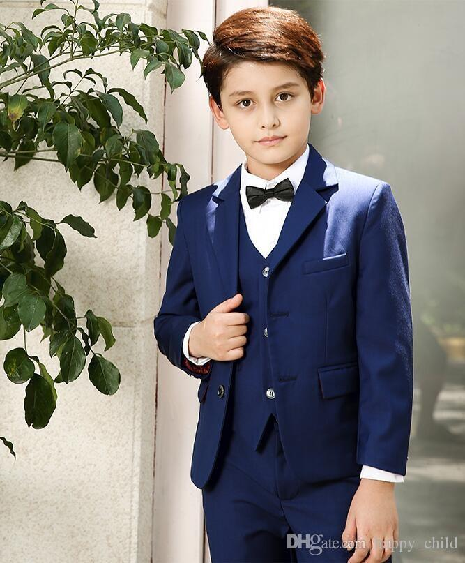 Popular Blue Boys Formal OccasionTuxedos Notch Lapel Center Vent Kids Wedding Tuxedos Child Suit Holiday clothes(Jacket+PantsPopular Blue Boys Formal OccasionTuxedos Notch Lapel Center Vent Kids Wedding Tuxedos Child Suit Holiday clothes(Jacket+Pants