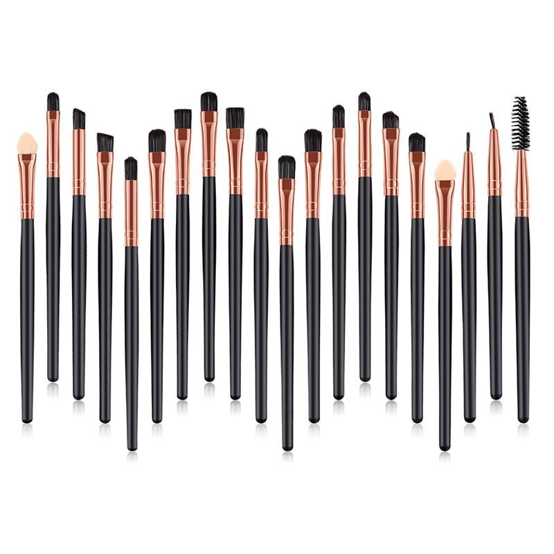 20Pcs Professional Make Up Brush Set Eyelash Eyeliner Eye Shadow Brush Gold Alumium Concealer Face Lip Makeup Brushes