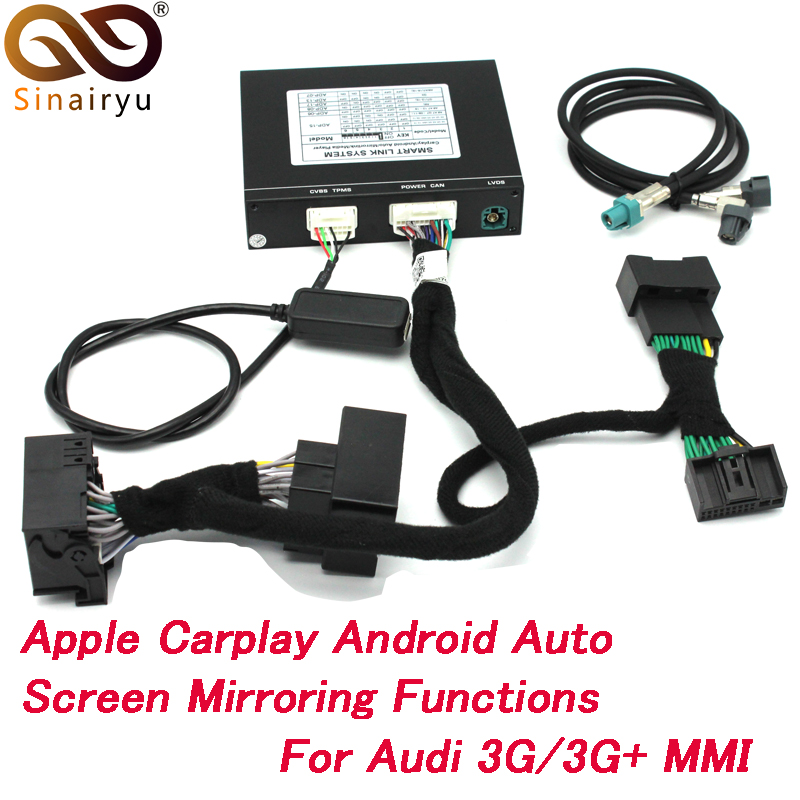 2019 Novo Carro IOS Airplay Da Apple Android Auto CarPlay Caixa Para Audi A1 A3 A4 A5 A6 Q3 Q5 Q7 tela Original de Atualização Do Sistema MMI
