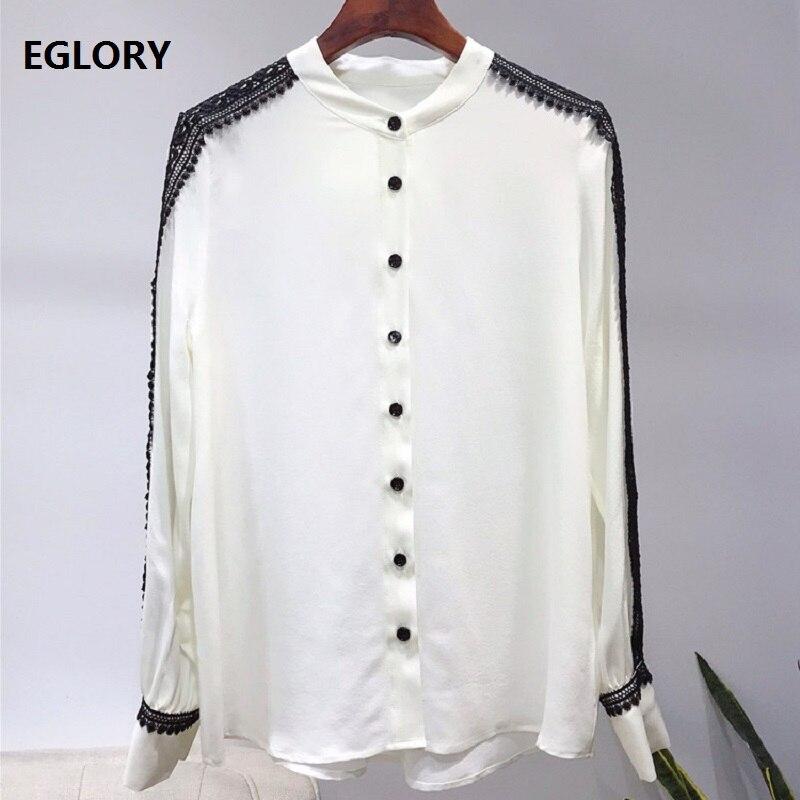 100% soie Blouse 2019 printemps été bureau chemises femmes noir dentelle Patchwork à manches longues élégant Blouse chemise femme hauts Blusas