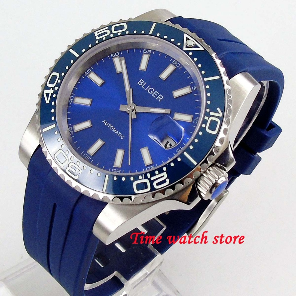 Luxury 40mm BLIGER mens watch blue dial super luminous ceramic bezel 21 jewels MIYOTA Automatic movement rubber strap 204Luxury 40mm BLIGER mens watch blue dial super luminous ceramic bezel 21 jewels MIYOTA Automatic movement rubber strap 204