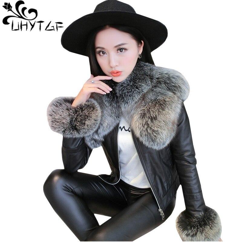 UHYTGF Fashion Faux   Leather   Jacket Luxury Fur Collar Short Black Faux Fur coats Winter jackets Women manteau fourrure femme 934